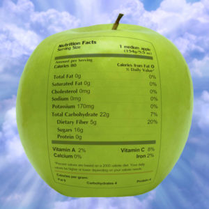 green apple with nutrition label